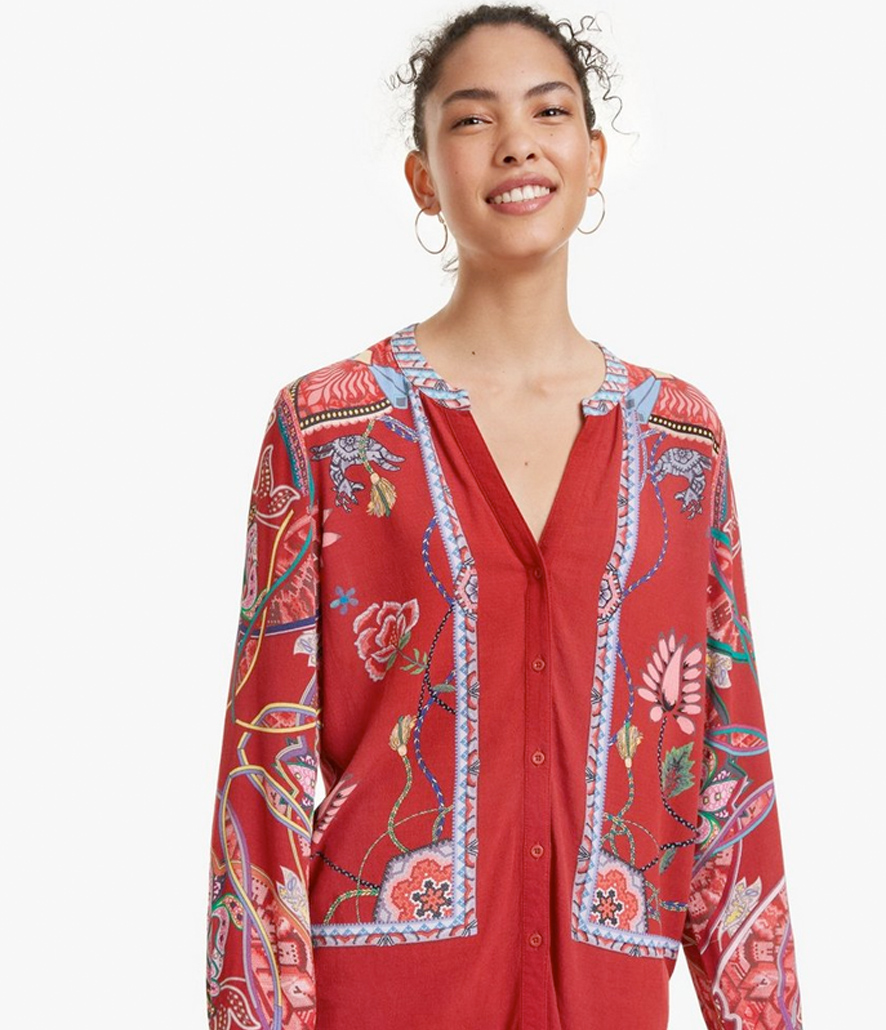 Camisa Desigual patch foulard Silvina