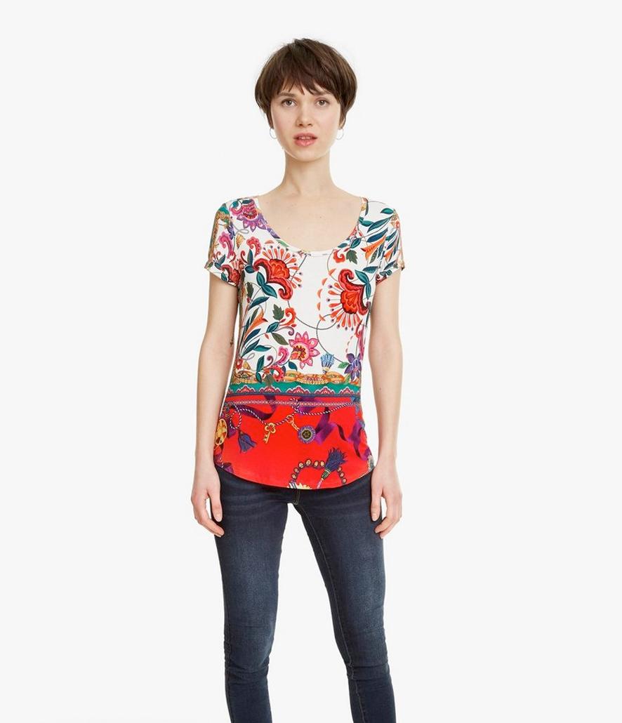 Camiseta Desigual blanca floral Leonor