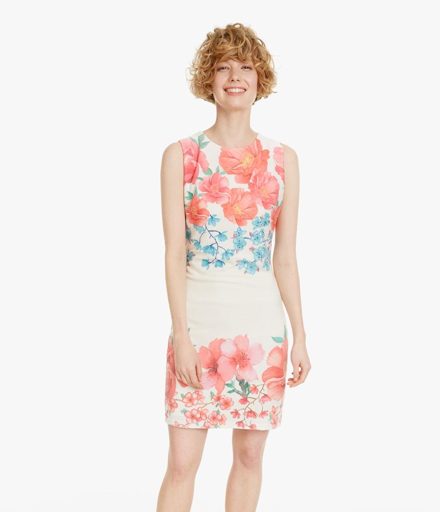 Vestido Desigual corto ajustado flores Yaquel