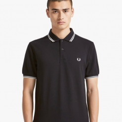 Polo Fred Perry negro-blanco M3600