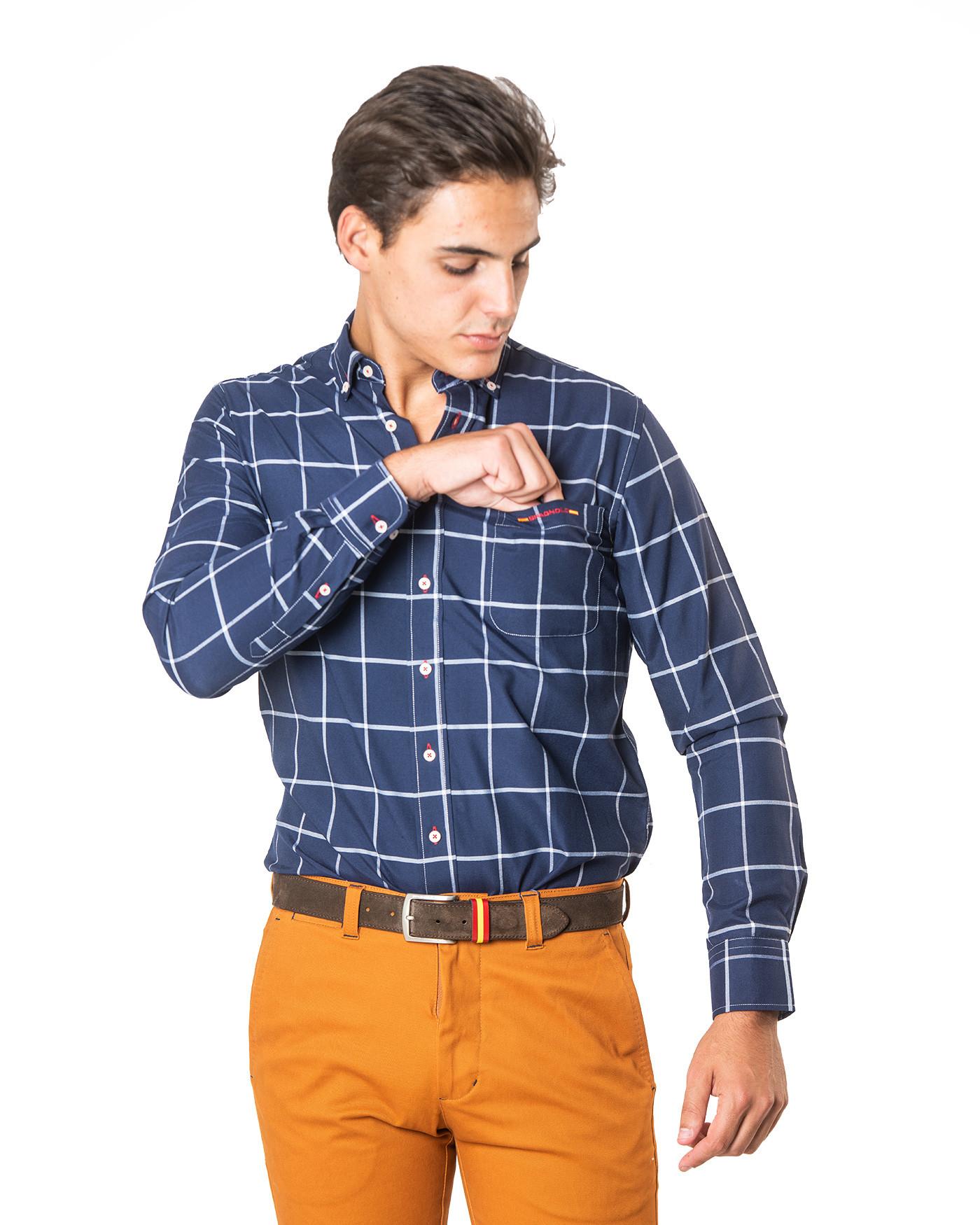 Camisa cuello botón azul Spagnolo
