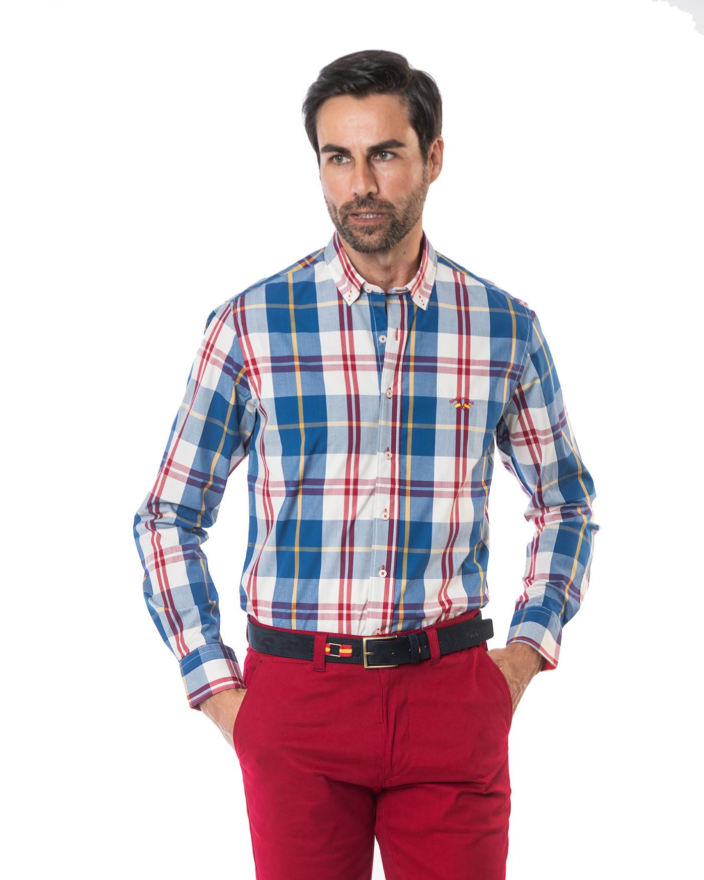 Camisa cuello botón popelin Spagnolo