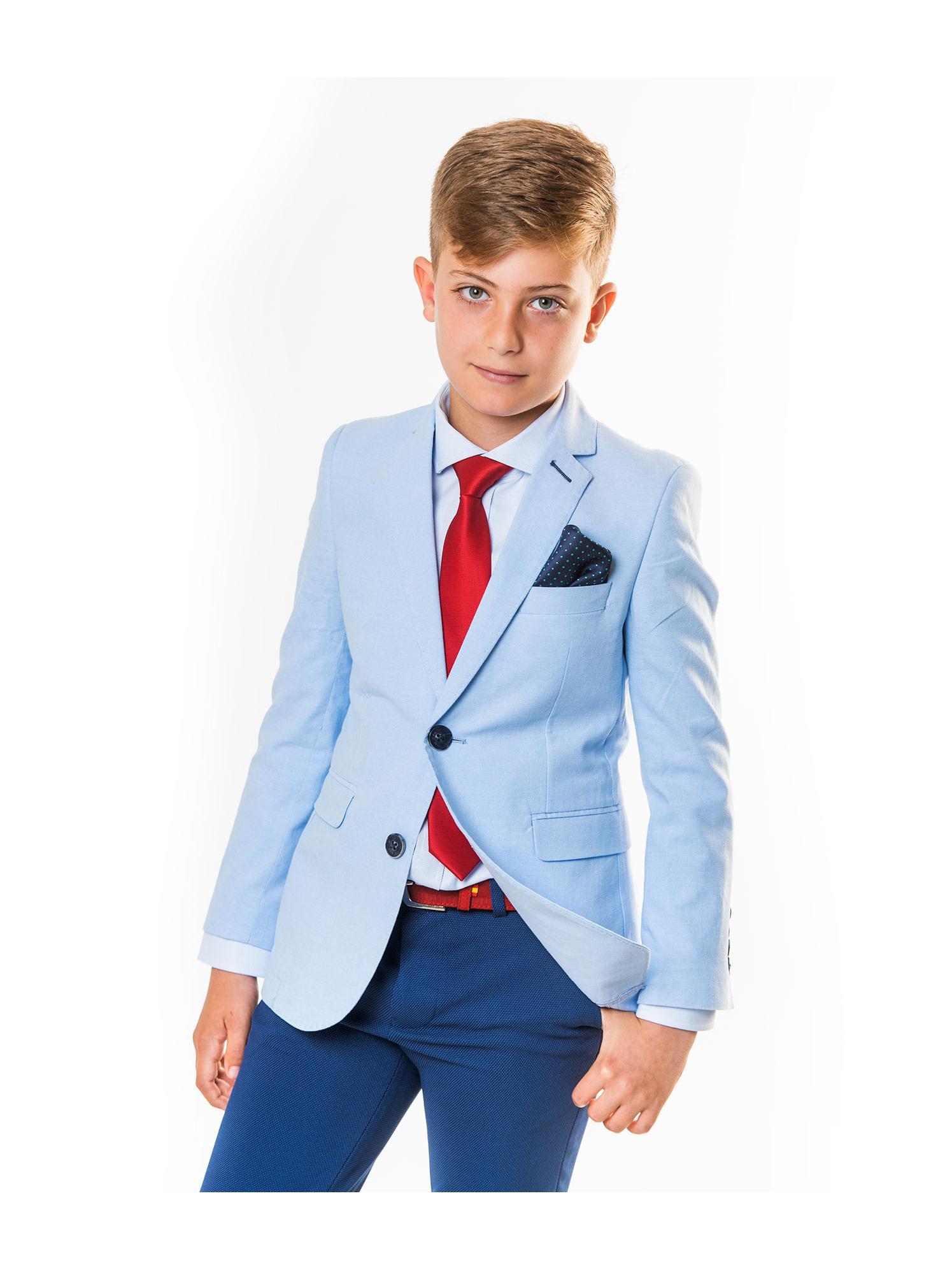 Americana azul claro Spagnolo niño