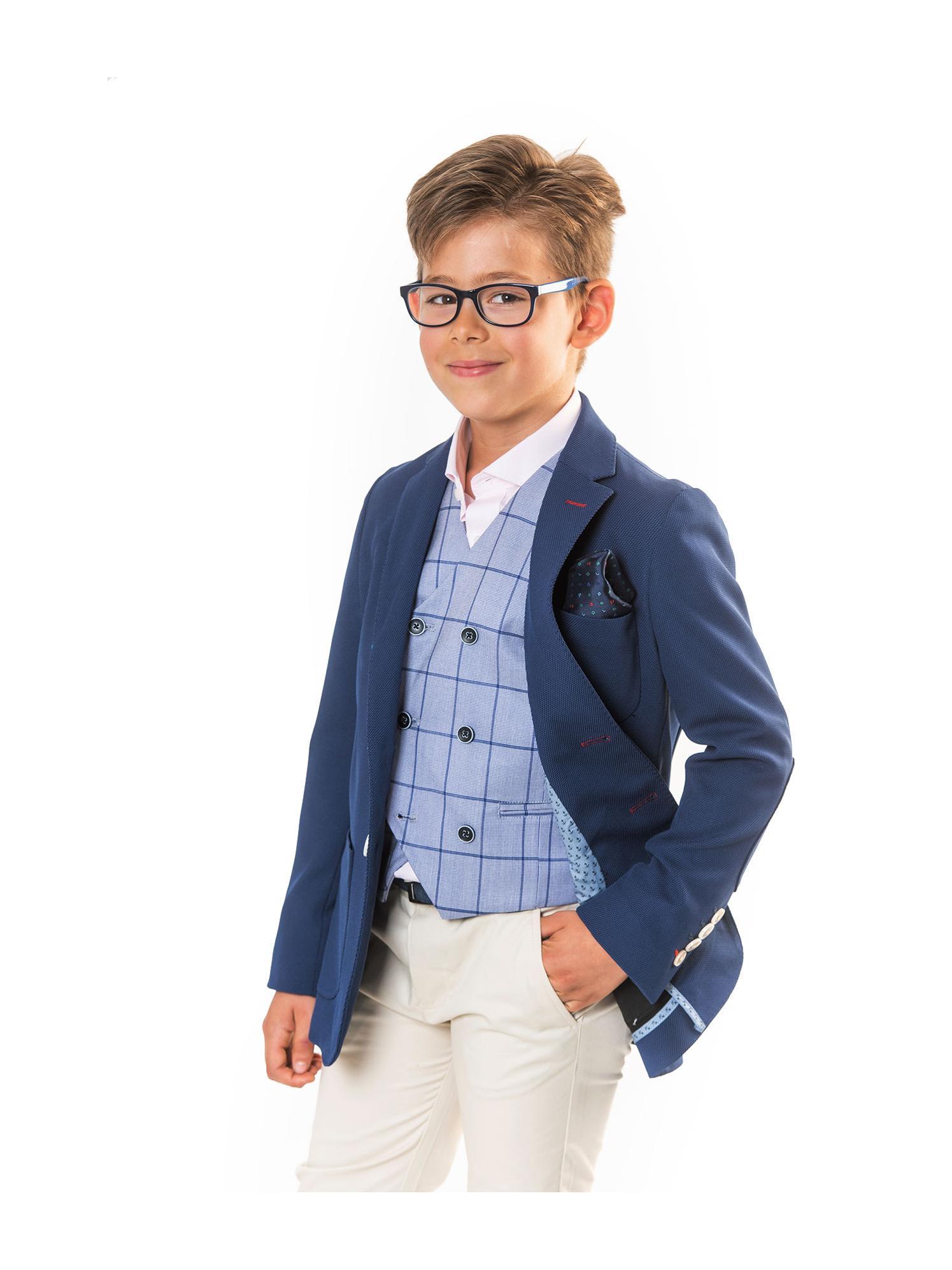 Americana azul con coderas Spagnolo niño