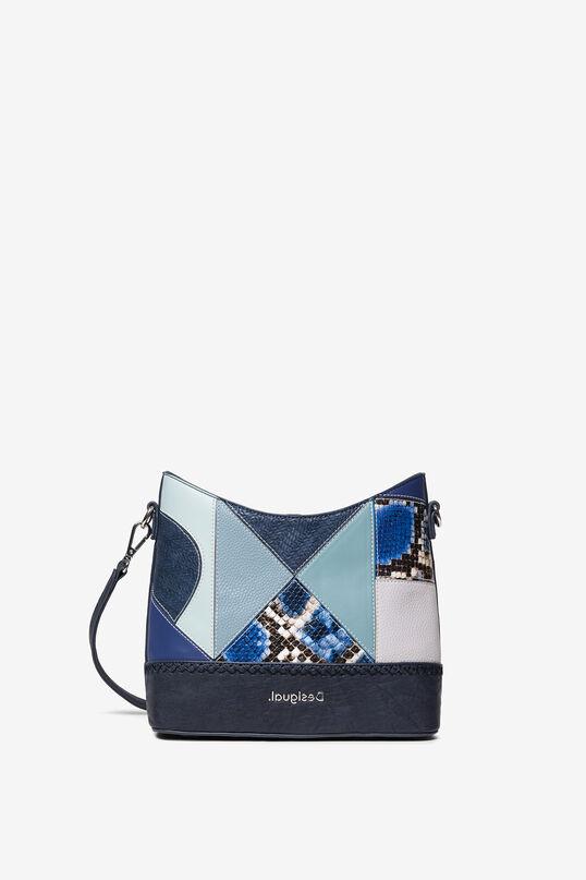 Bolso mediando patch azul Desigual