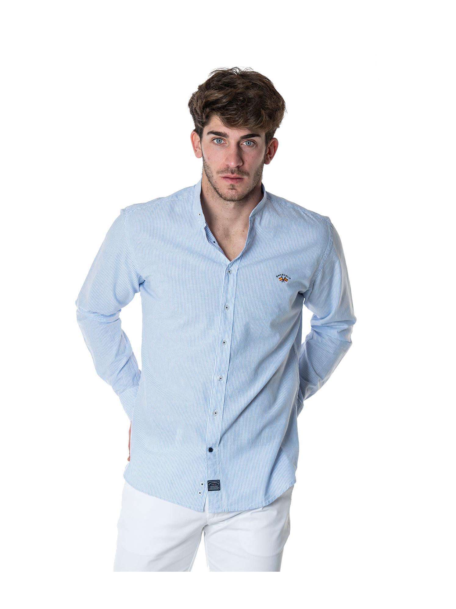 Camisa azul cuello mao Spagnolo