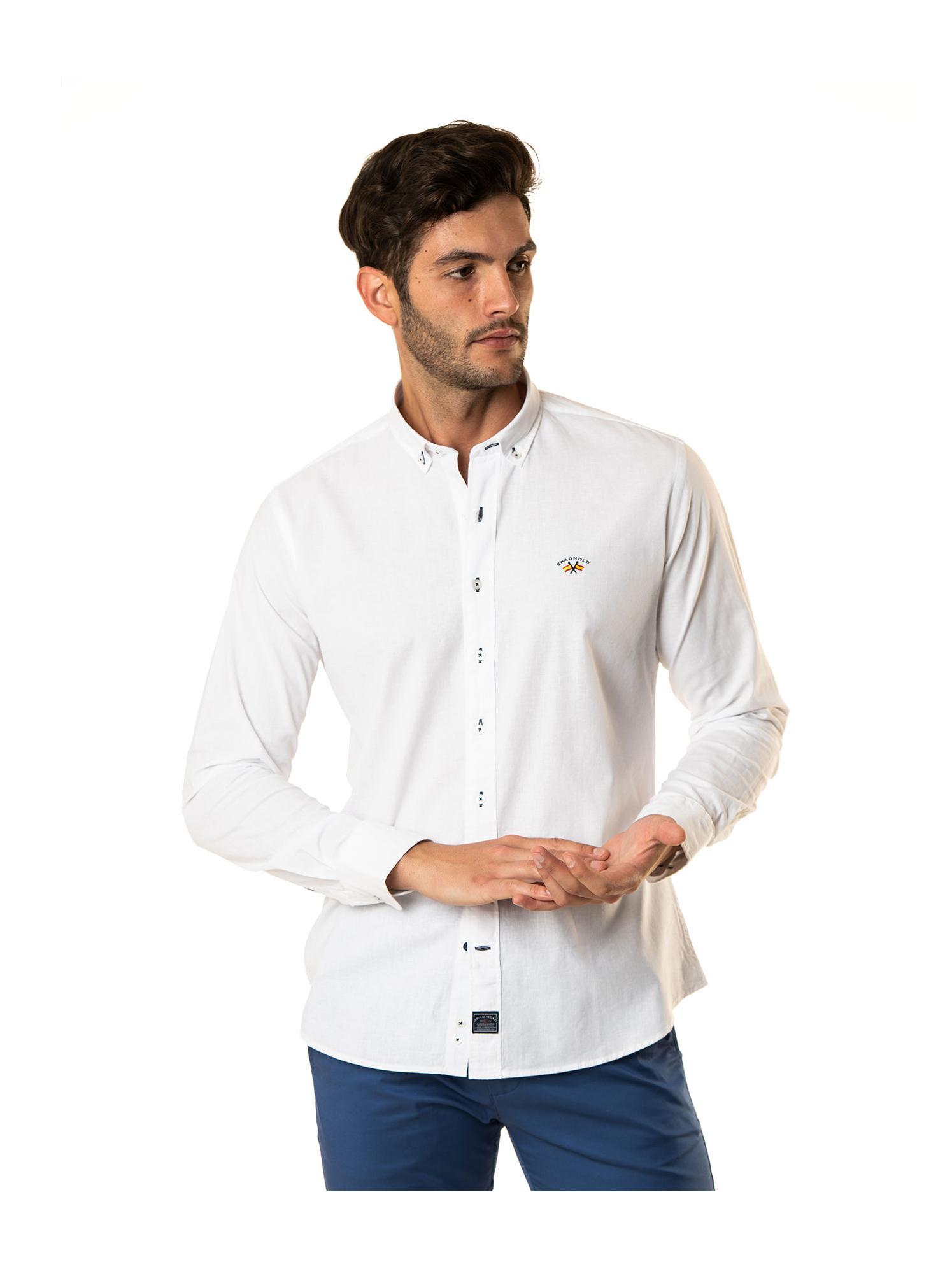 Camisa blanca tejido lino Spagnolo