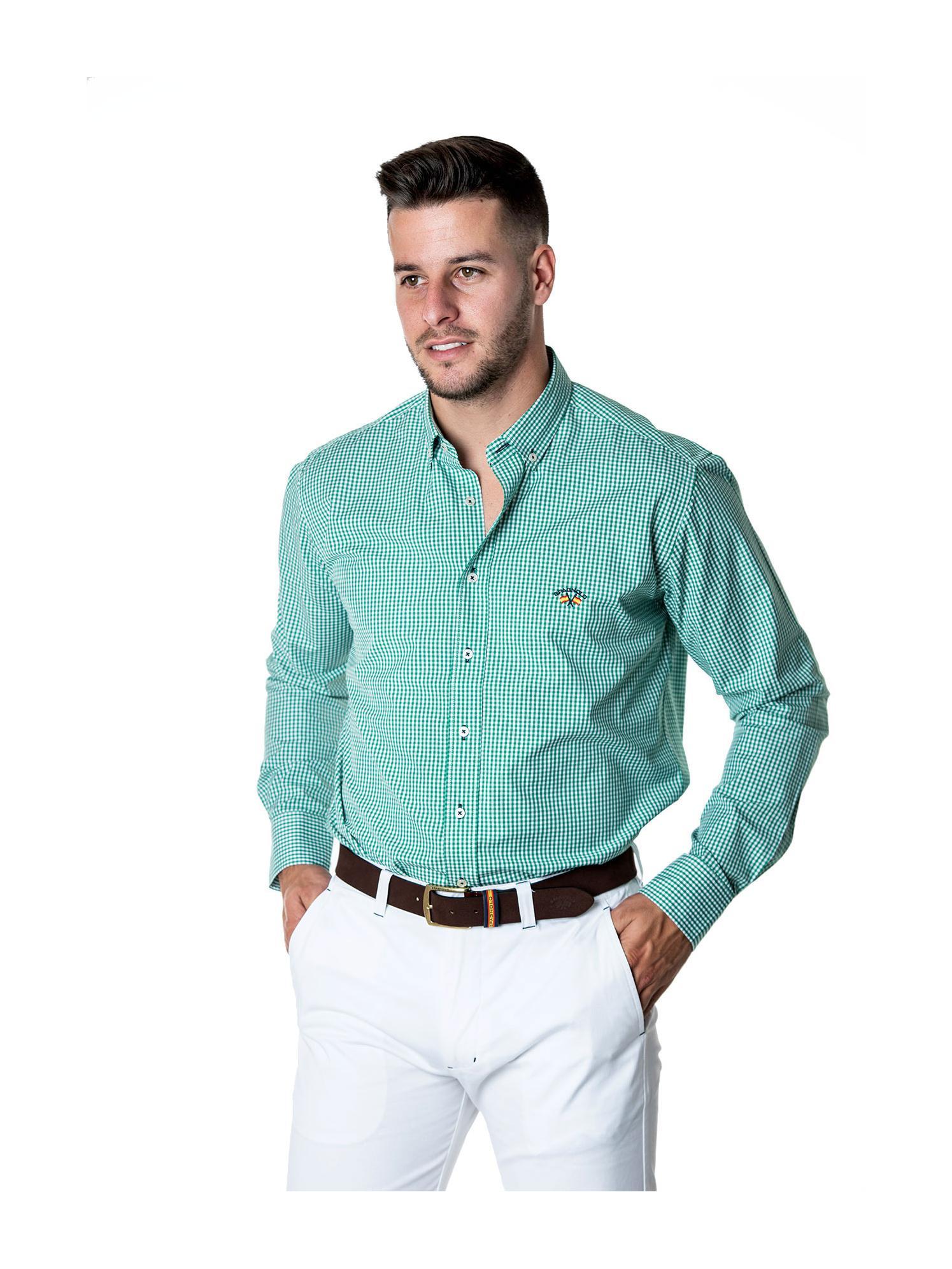Camisa tejido popelín verde Spagnolo