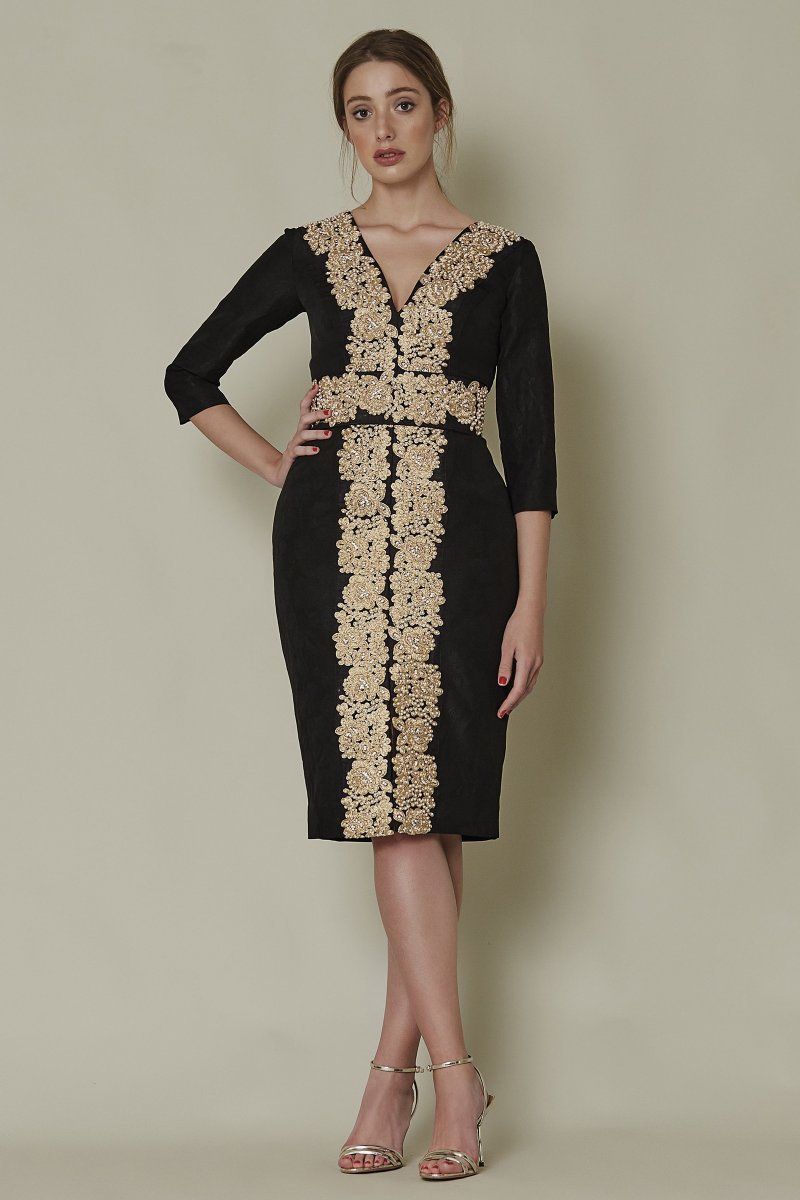 Vestido brocado SARA RUIZ con detalles bordados