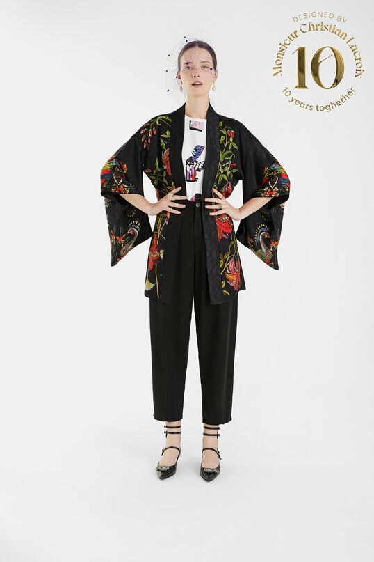 Kimono jacquard flores